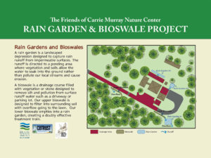 Nature Center rain garden and bioswale water quality improvement project interpretive sign