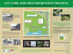 Custom entrance sign with map and rotational habitat exhibit