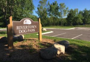 Rivertown Dog Park entrance sign