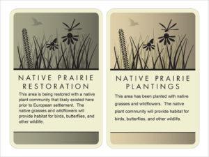 Standard Native Prairie Restoration and Native Prairie Plantings identification signs
