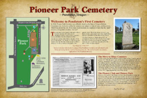 Pioneer Park Cemetery map and history sign
