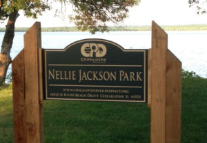 Nellie Jackson Park Routed Sign
