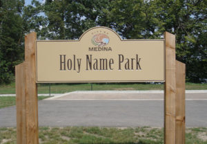 Holy Name Park V-grooved Sign with Panel Insert