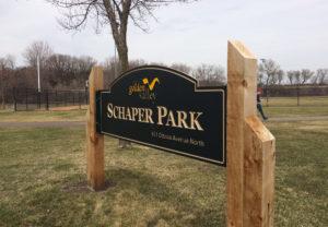 V-grooved Schaper Park Entrance Sign